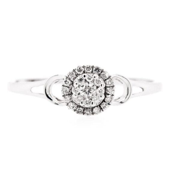 Thin Halo Solitaire Diamond Engagement Ring 0.14ct