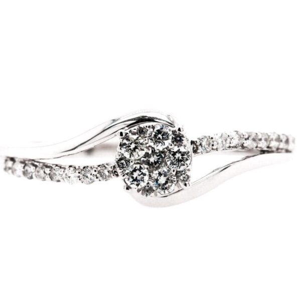 Petite Split Bypass Diamond Engagement Ring 0.25ct