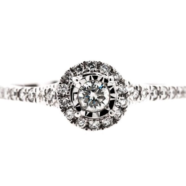 Multi Round Diamond Halo Engagement Ring 0.33ct