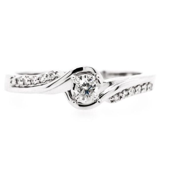 Petite Side Bypass Diamond Engagement Ring 0.02ct