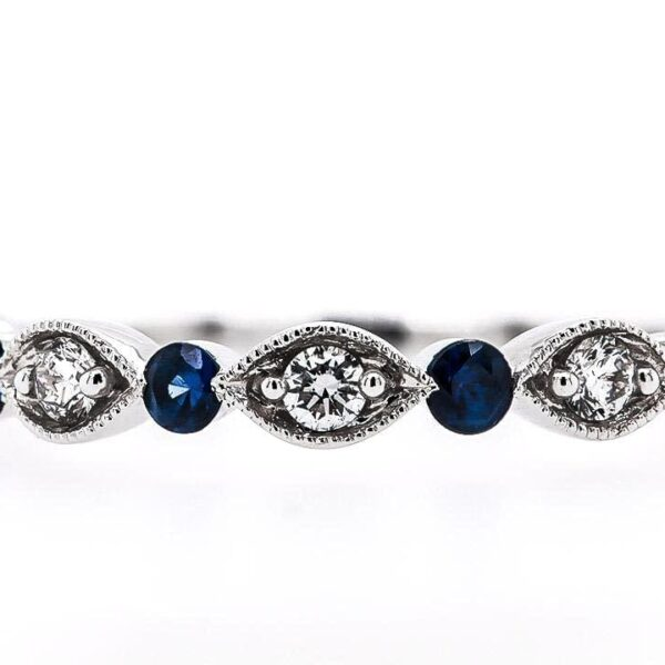 18K White Diamond Band with Blue Sapphire 0.35 Ct