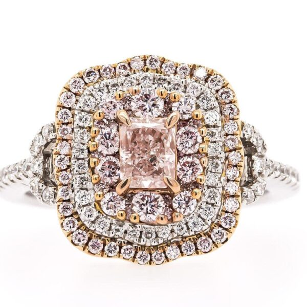 White Gold and Rose Gold Vintage Ring with Purple and Pink diamonds