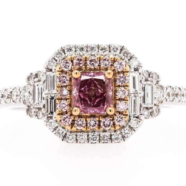 Double Halo 18K Ring with Purple Cushion Diamond