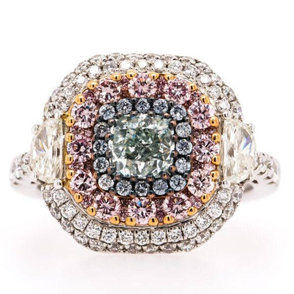 Multi Color Double Halo Engagement Ring 2.42ct