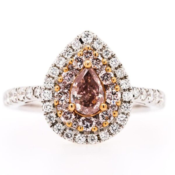 Double Halo Ring 18K White/Rose-Gold with Beautiful 0.45 Carat Purple Pear Cut Diamond in Center with Pink Diamonds and White Diamonds around