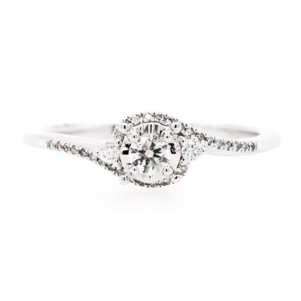 Petite Bypass Diamond Engagement Ring 0.19ct