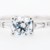 Round Baguette Diamond Engagement Ring 1.39ct