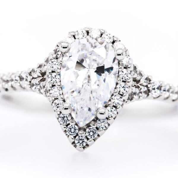 Pear Halo 14k White Gold Engagement Ring