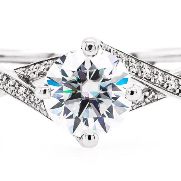 Cross Row Round Engagement Ring 1.20 ct
