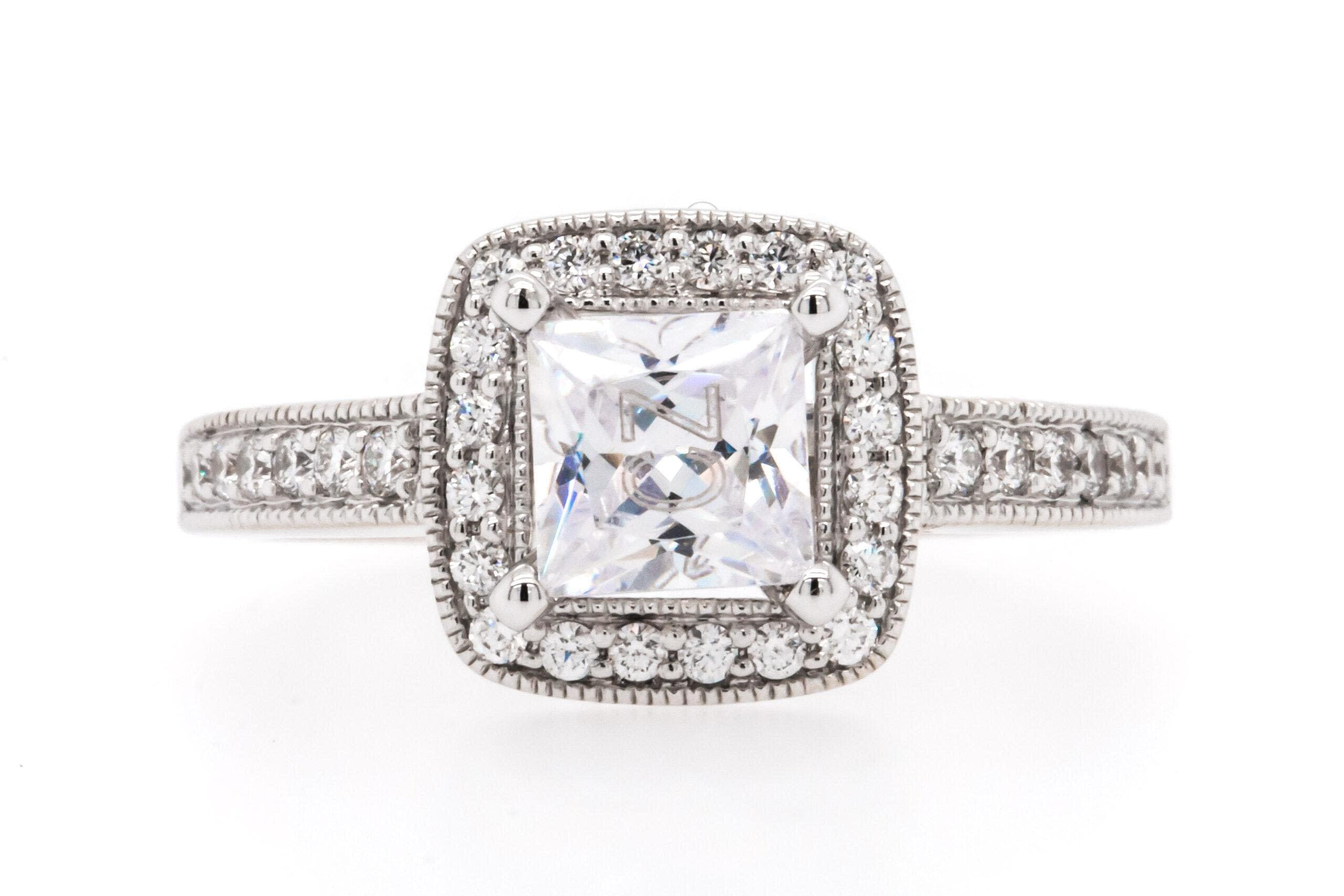 14 Karat White Gold Halo Engagement Ring with a Square Cut Diamond in the Center