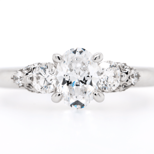 Three Oval Stone Engagement Ring 1.65ct