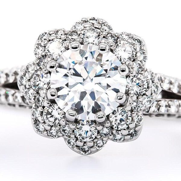 Split Side Row Halo Engagement Ring 4.26 ct