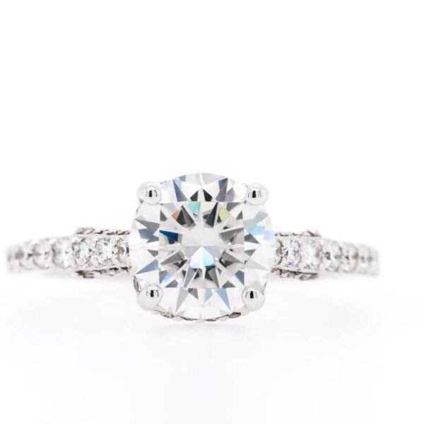 Round Side Setting Diamond Engagement Ring 2.65ct