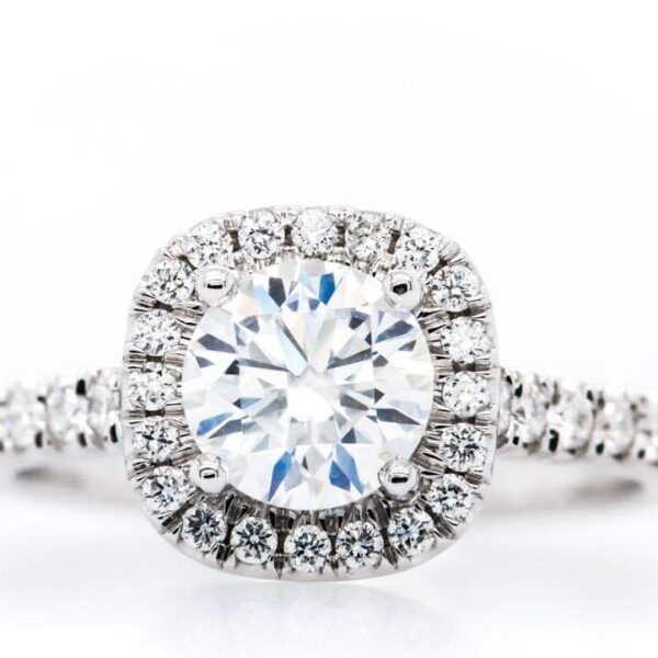 Halo Pave 14k White Gold Engagement Ring