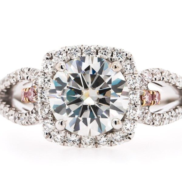 Double Split Halo Engagement Ring 2.01ct