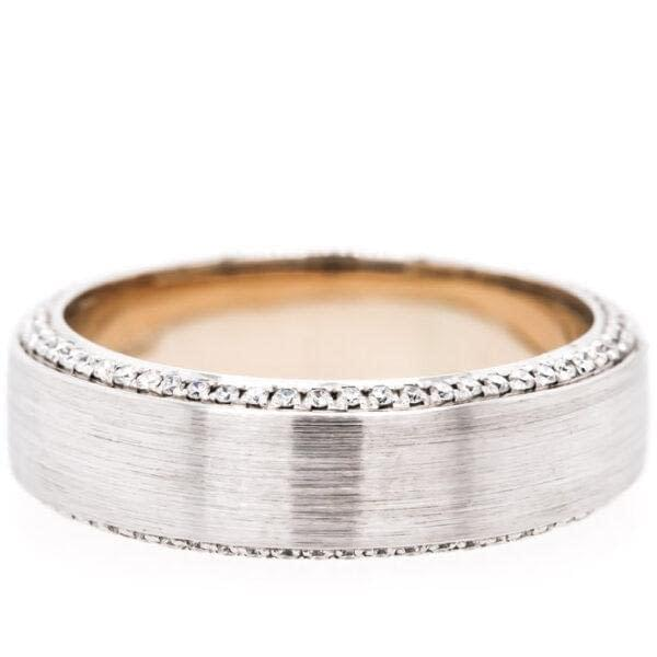 14K White-Gold Diamond Edged Wedding Band 0.53ct