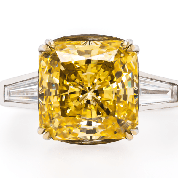 Yellow Cushion Diamond Baguette