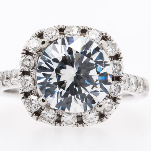 Side Setting Halo Engagement Ring 5.97ct
