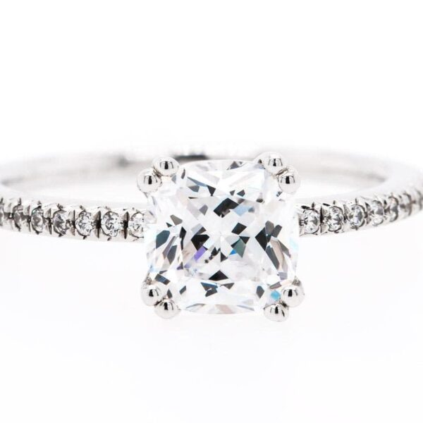 Double Prong Cushion Engagement Ring 1.14 ct