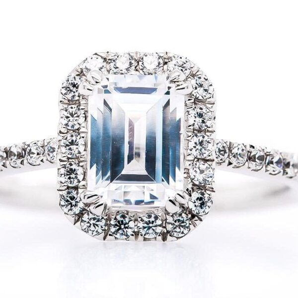 Halo Pave 18k White Gold Emerald Cut Engagement Ring
