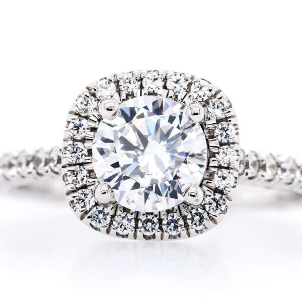 Petite Side Halo Engagement Ring 1.61 ct