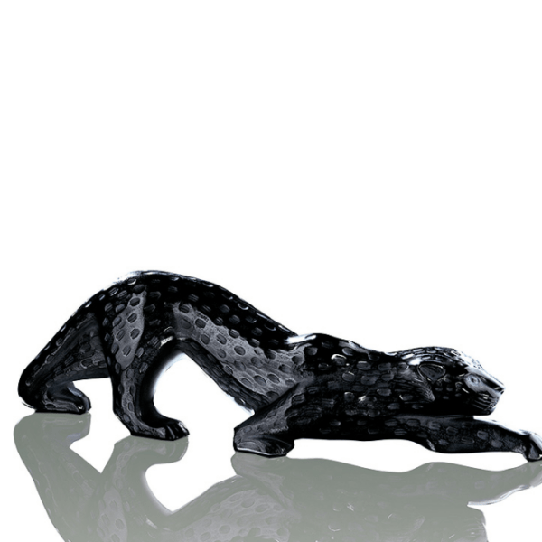 Black crystal Zeila Panther Large Sculpture