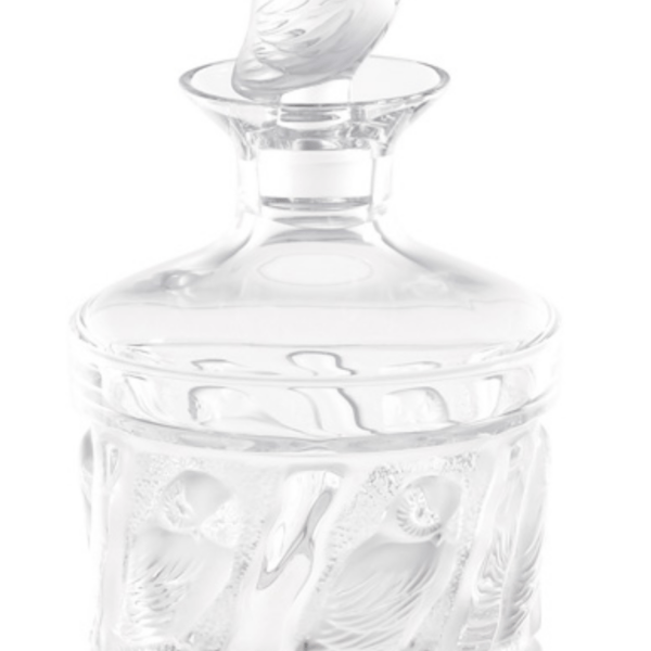 Crystal Clear decanter with and owl top