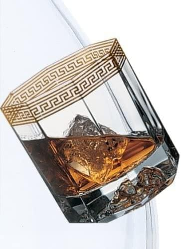 Medusa d'Or Crystal Whiskey Glasses Versace, hand-made glass,