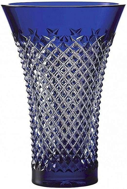 Alana Blue Flared Crystal Vase 8in