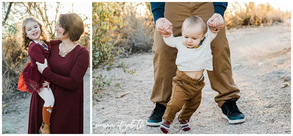 Usery Pass Family Pictures featuring a desert backdrop and navy and maroon coordinated outfits. Maren Elizabeth Photography | Gilbert, AZ