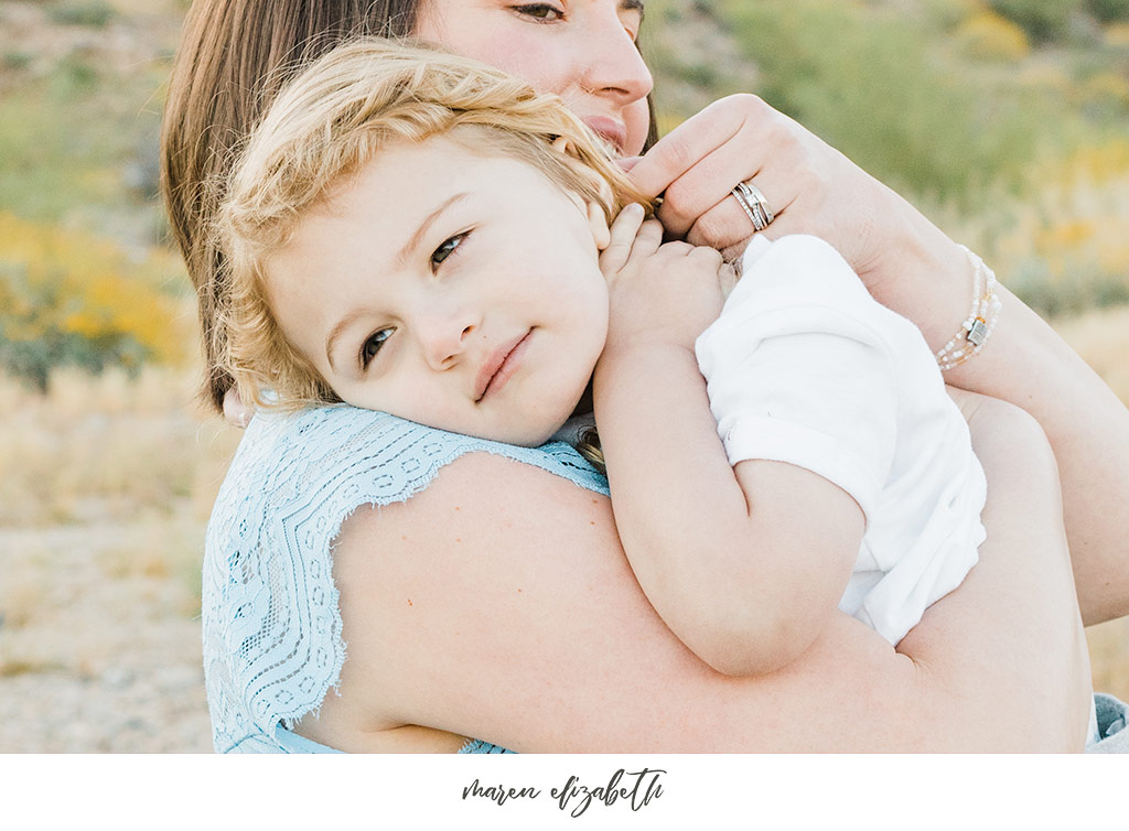 Sunrise family pictures session of a family of four at the San Tan Mountain Regional Park in Queen Creek, AZ. | Arizona Family Photographer | Maren Elizabeth Photography