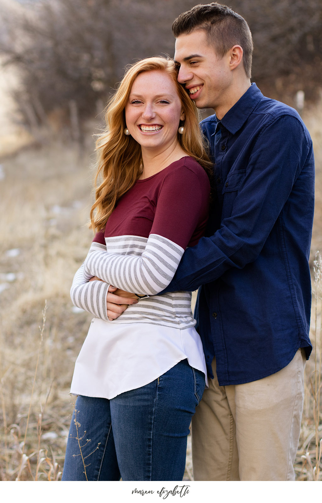 Big Springs Park engagement pictures in Provo Canyon, UT. This location is a short hike from the main parking lot across the bridge. Maren Elizabeth Photography | Arizona Photographer