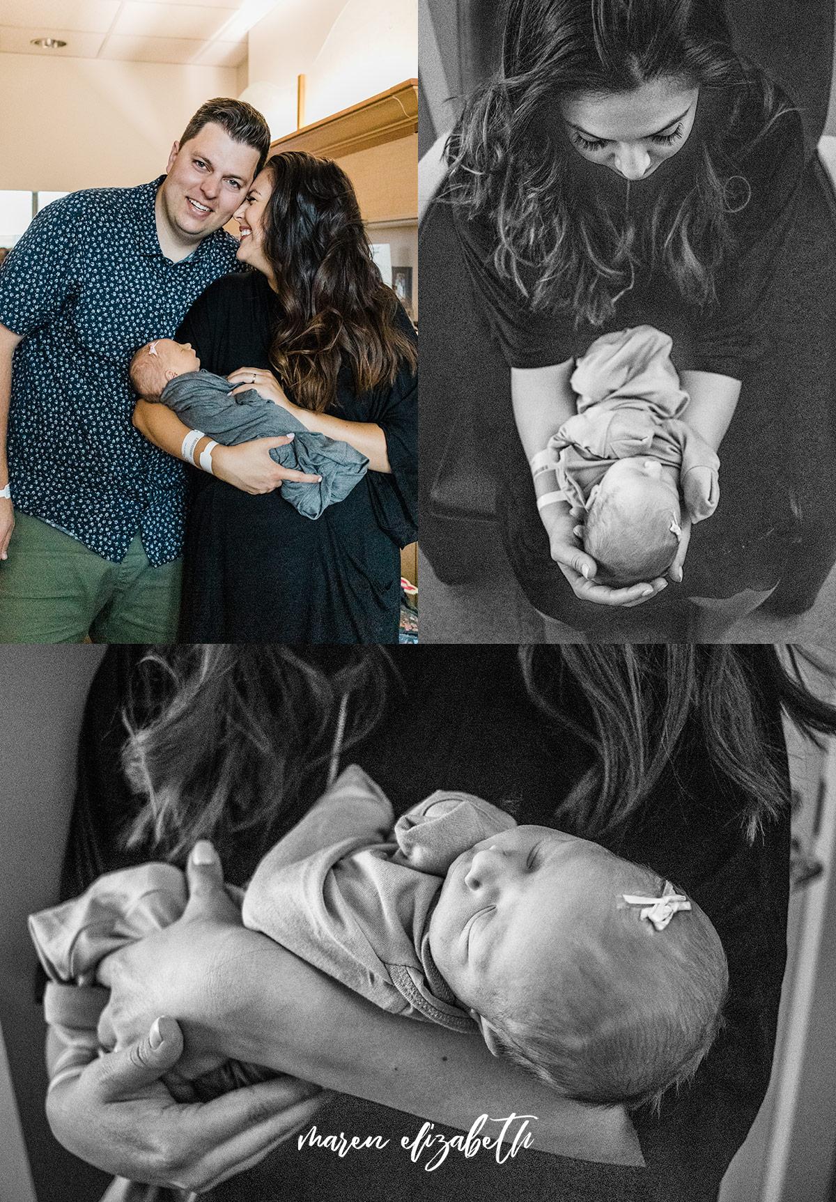 Family of four fresh 48 hospital pictures at Utah Valley Hospital, Provo, UT | Maren Elizabeth Photography | Arizona Birth Photographer