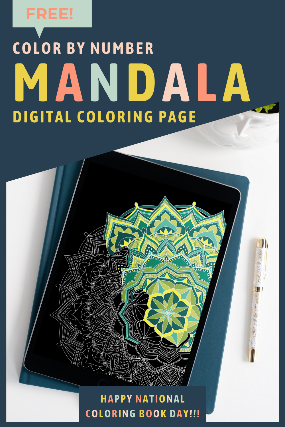 Free Color By Number Mandala Digital Coloring Page