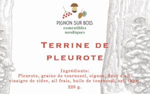 Illustration sur étiquette de terrine de pleurote