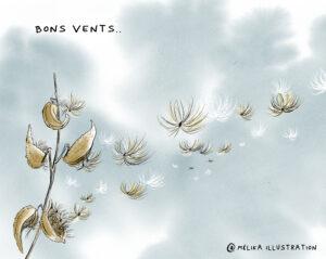 Illustration : Envolée magique des semences d'asclépiades