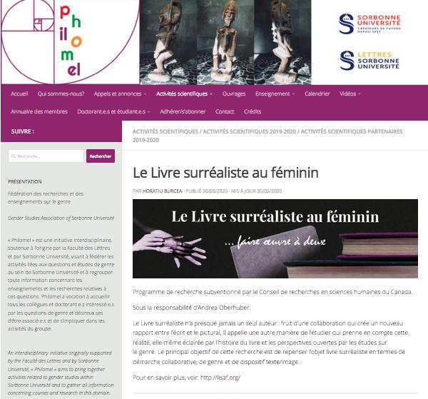 LienavecPhilomel (Fédérationdes recherches et des enseignements sur legenre, Sorbonne Université –Paris4)