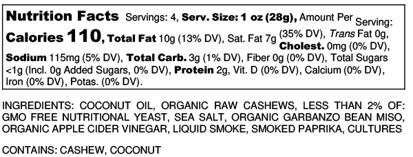 Slightly Smokey Probiotic Plant Pate - Nutrition Label