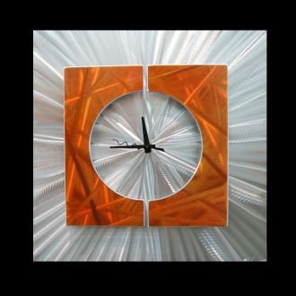 Splice Clock Orange - our artisan Fine Metal Art