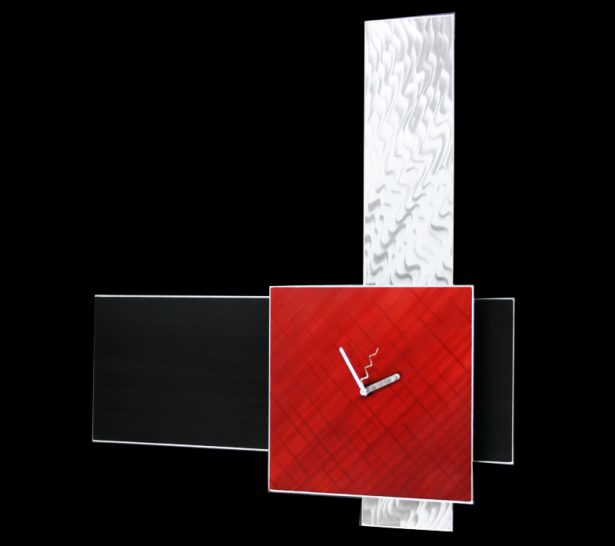 Vera Red Clock - our artisan Fine Metal Art