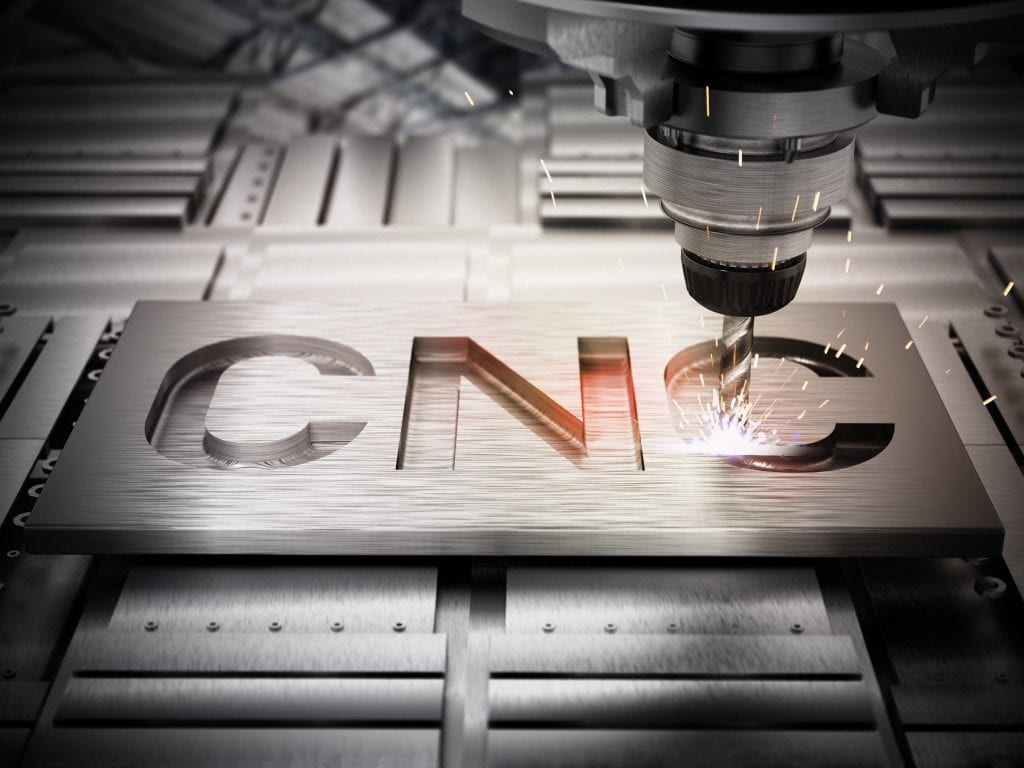 Closeup of generic CNC drill equipment. 3D illustration.