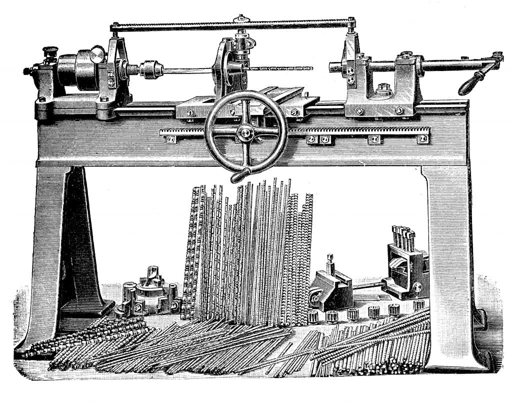 Black and white drawing of metalworking, turning bench lathe
