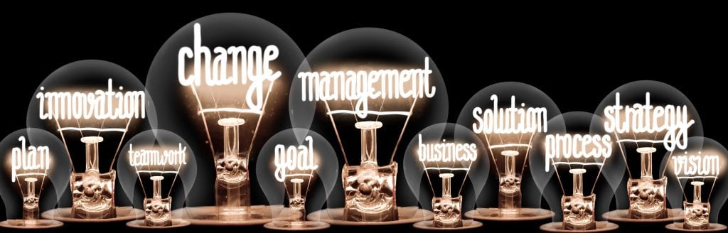 Group of light bulbs with shining fibers in a shape of Change Management, Strategy, Solution and Innovation concept related words isolated on black background