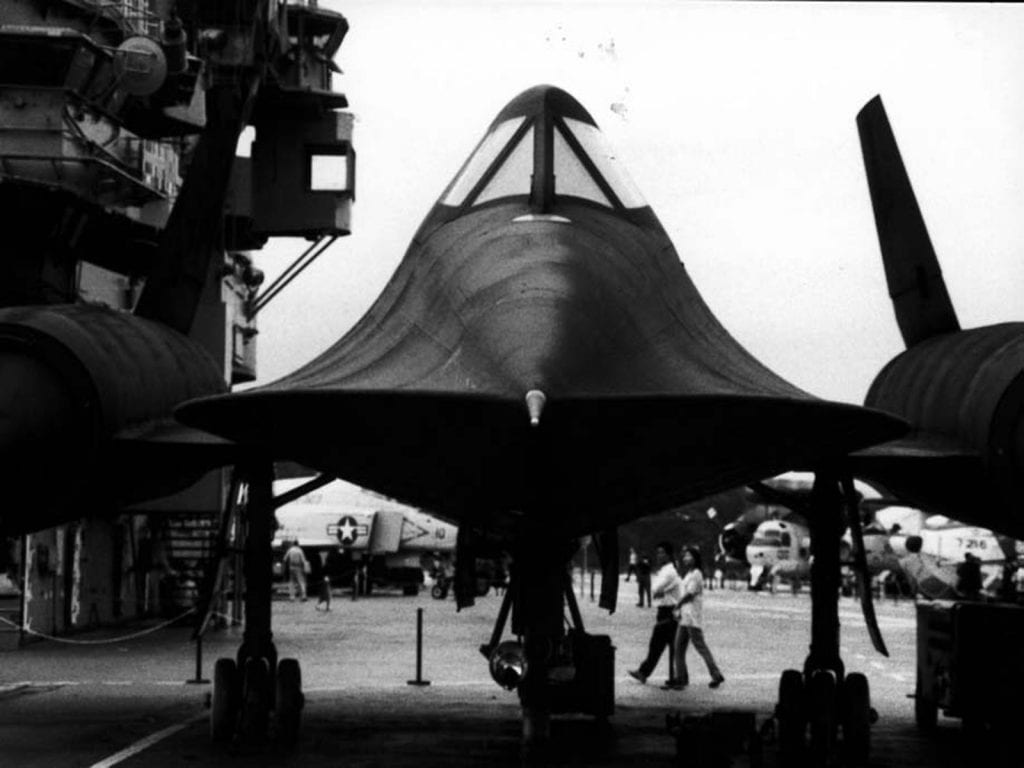 Front shot of SR-71 Blackbird Mach 3 aircraft