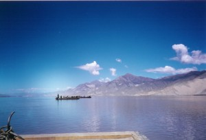 Many Tibetans cross this lake to get to the Utse Monastery.