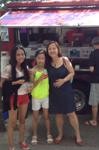 My nieces and I in front of the Japadog food truck in Kitsilano
