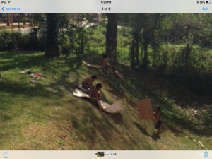 One of my highlights was watching these kids slide down the hill on flattened cardboard boxes.   Fun!