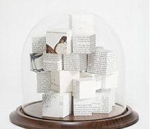 Cluster of Ideas, Transcendence, 2010, hand cut paper cubes & blown glass, 26 x 30.5 cm