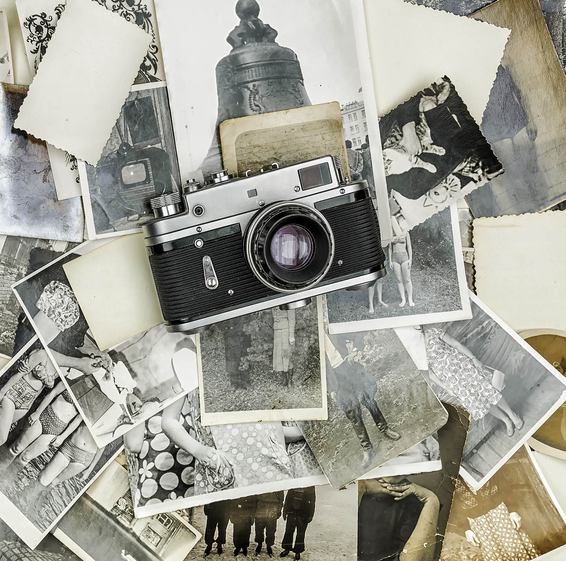 A camera with many pictures everywhere