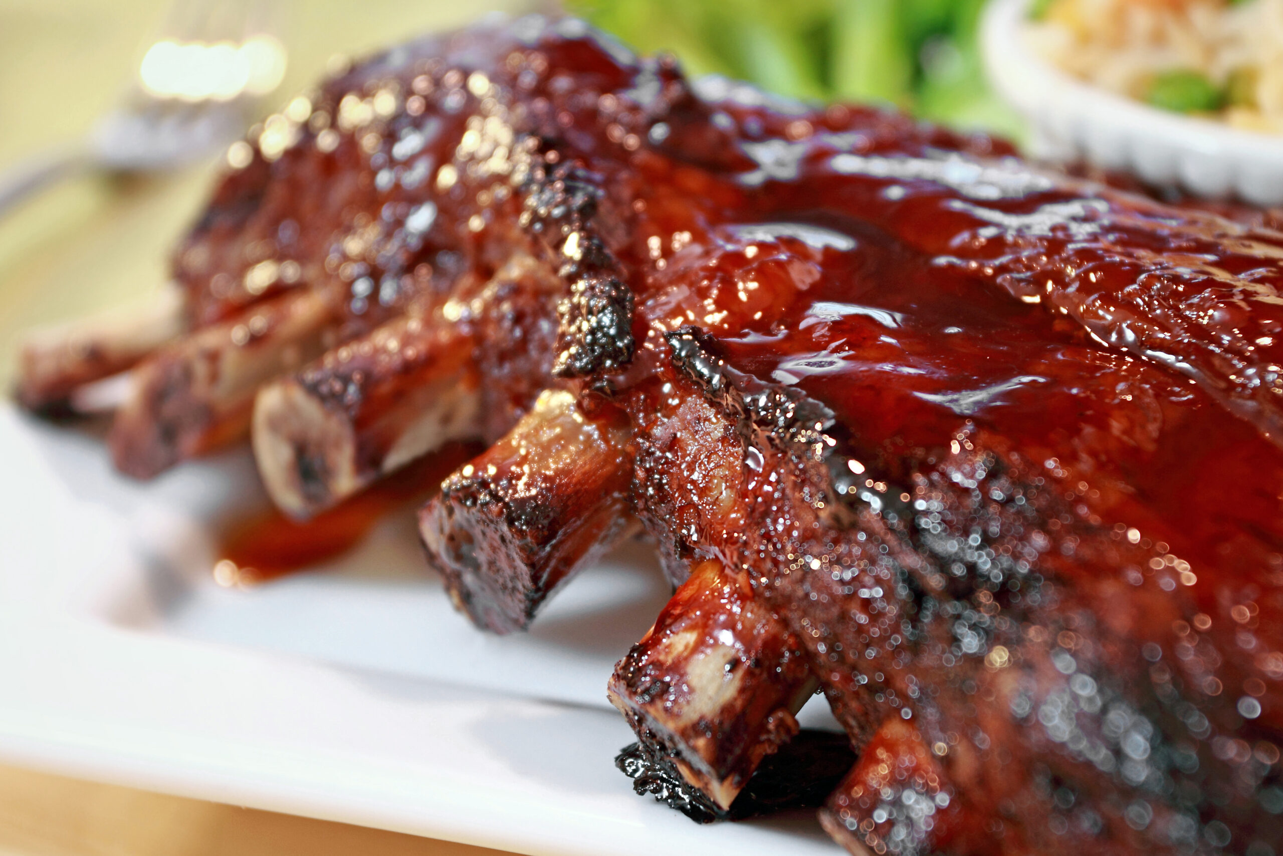 Rack of marinated pork ribs